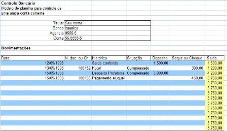 Controle Banc 225 Rio Planilha Excel