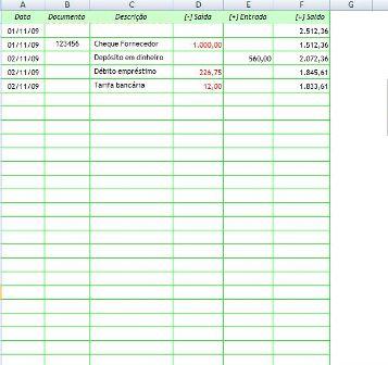 Controle Para Conta Banc Ria Planilha Excel