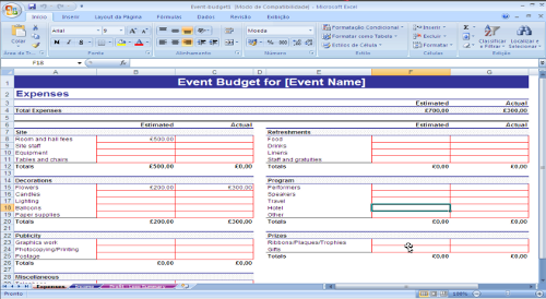 Orçamento para Eventos - Quadro de Despesas