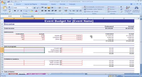 Orçamento para Eventos com Despesas, Faturamento e Sumário Lucro X Gastos