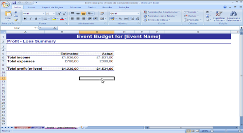 Orçamento para Eventos - Quadro Comparativo Lucro X Despesas