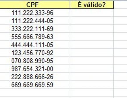 Verificação de Números de CPF