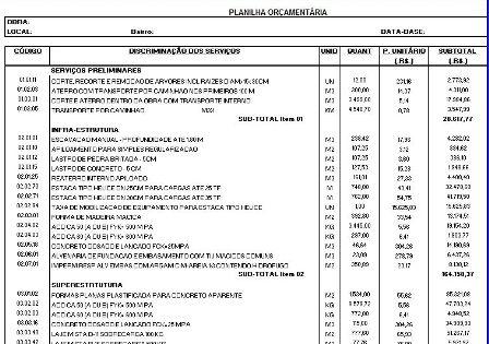 Orçamento para Obras de Prefeituras